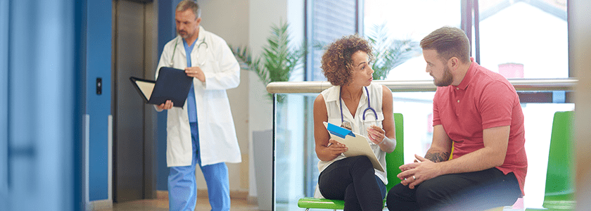 Patients & Doctor in Waiting Room Callout Image
