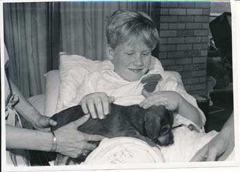 Boy and puppy, Zoo Day, 1972