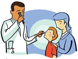 Cartoon image of a doctor looking in a patients throat by doing a laryngoscopy.