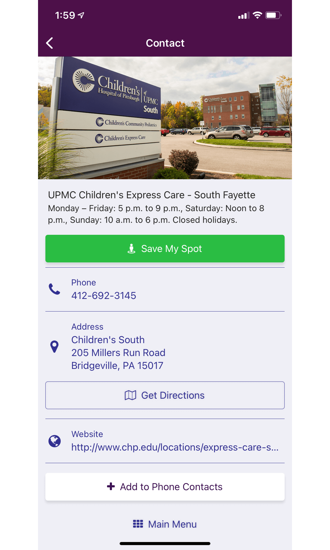ChildrensPGH App Express Care