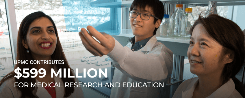 UPMC contributes $599 million for medical research and education