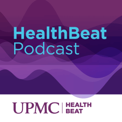 A purple rectangle with blue text that reads HealthBeat Podcast. A white rectangle underneath has purple text and the UPMC HealthBeat logo.