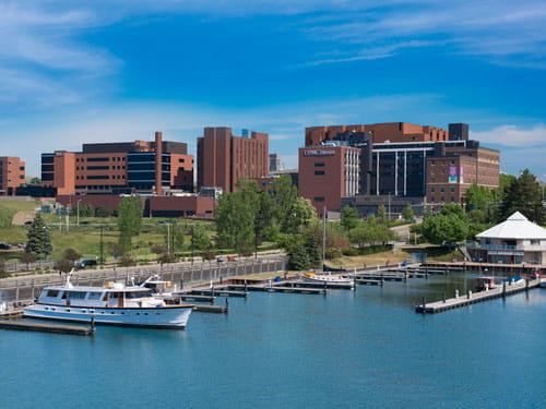 UPMC exterior and lake