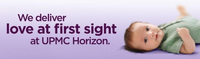 """Purple text reading """"We deliver love at first sight at UPMC Horizon"""" over a purple background."""