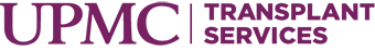 Purple logo with a white background for UPMC Transplant Services.