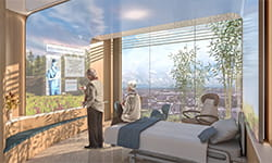 UPMC Heart and Transplant Hospital patient room.