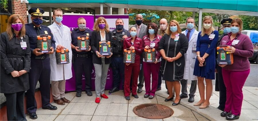 UPMC in partnership with The Peyton Walker Foundation donated 18 AEDs