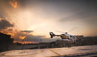 A STAT MedEvac medical helicopter takes off from the UPMC Presbyterian Hospital helipad. Credit: UPMC.